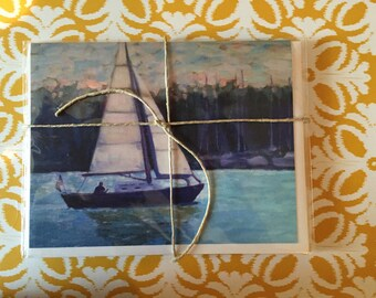"""Day Sailor - Art Note Cards - 4 Pack, Blank Inside, 5 1/2"""" x 4"""", Reproduction of Original Art By Renee Brennan"""