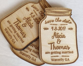 25 Mason Jar Save the Date Engraved Magnets - save the dates for your wedding - engraved in wood