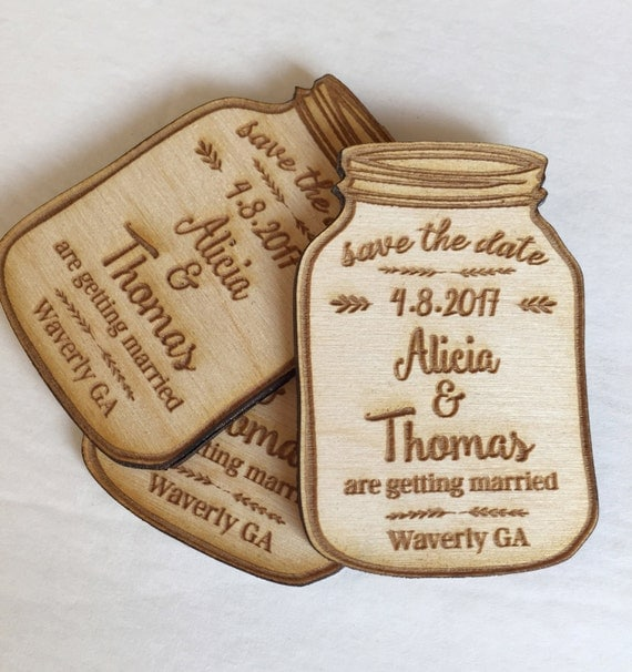 25 Mason Jar Save The Date Engraved Magnets Save The Dates