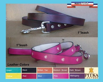 Leather Dog Leashes - Custom Dog Leash - 1 inch Leather Dog Leashes - Hand made Leather Leash - Leather leashes for Big Dogs - made in USA