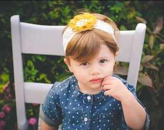 Ivory and Mustard Lace Headband, Newborn Headband, Baby Headband, Toddler Headband, Girls Headband, Photo Prop