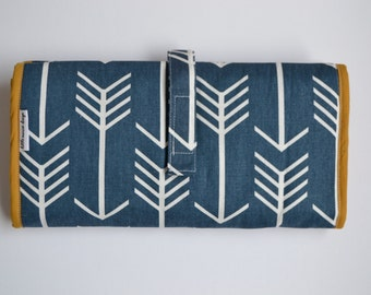 Diaper clutch - Changing pad - Blue teal arrow All-in-One 100% cotton