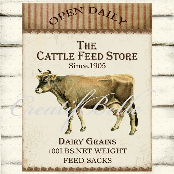 Vintage Cattle Feed Store Farm Cow Large Instant Digital