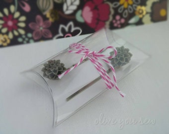 Resin Flower Bobby Pins, flower hair pins - GREY, various styles