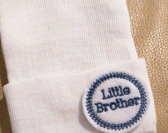 A Best Seller! Newborn Hospital Hat. Now w/White and Dark Blue LITTLE BROTHER Applique.  Every New Baby Boy Should Have! Adorable!