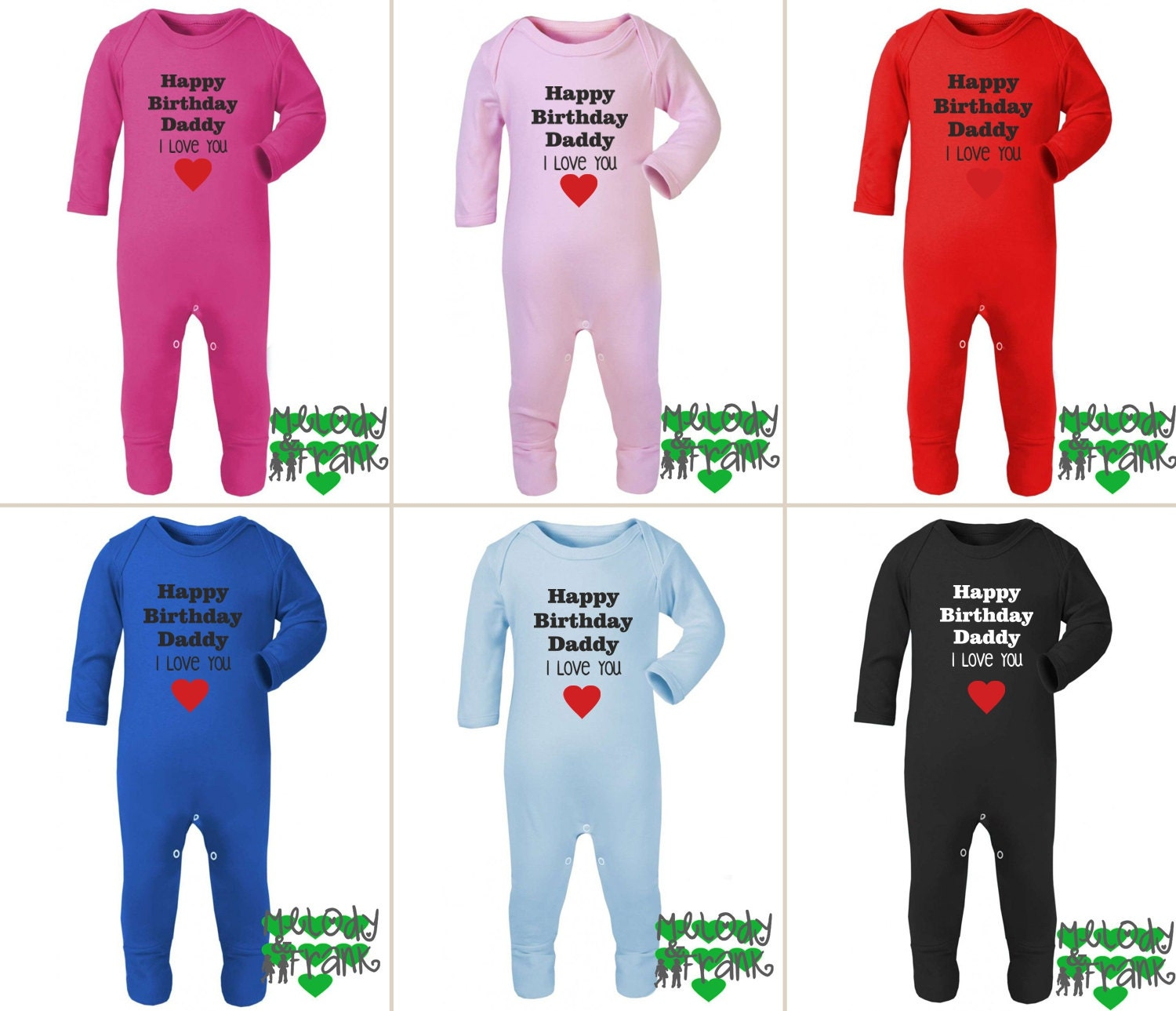 Happy Birthday Daddy I Love You Long Sleeve Sleepsuit Baby Romper