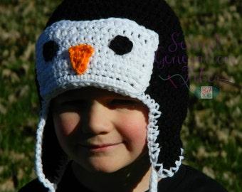 Penguin hat, crochet penguin hat, winter hat, boy hat, boy penguin, crochet penguin, hat for pictures, animal hat, penguin ear flap hat