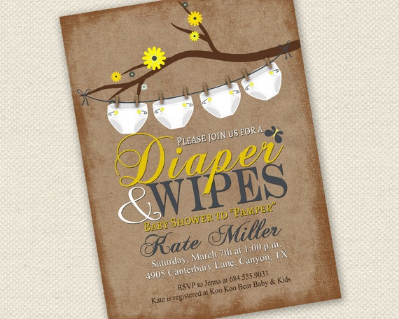 Elegant Baby Shower Invitation Diaper And Wipes Baby Shower