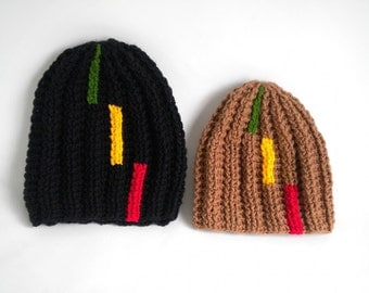 Rasta hat with chopped stripes on the side, Jamaica beanie, dreadlock tam, dreads