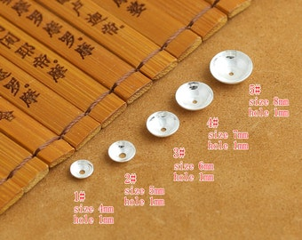 925 silver bead cap sterling silver beads caps plain and smooth 4mm 5mm 6mm 7mm 8mm wholesale High Quality Y0851