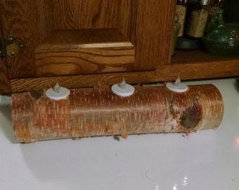 Birch, Christmas, White Birch log, tea light holder, Candle Holder, centerpiece, Yule Log