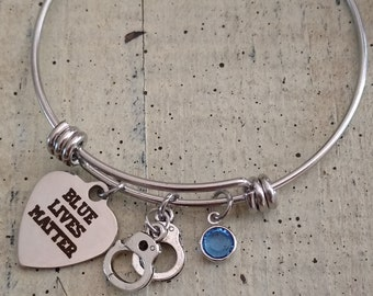 Blue lives Matter Bracelet / Thin blue line / Support our police bracelet  / Blue lives matter heart jewelry / Support our Officers Bangle