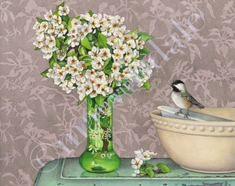 2016 Blossoms, Bird and Bowls (framed art print from watercolour of chickadee and apple blossoms by Cori Lee Marvin)