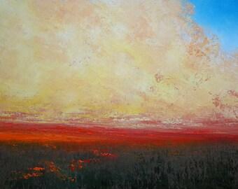 Original Oil Prairie Painting Landscape Cloud Painting by Faith Patterson