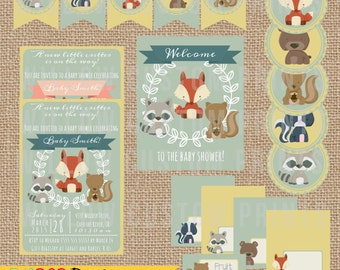 WOODLAND FOREST ANIMALS Baby Shower - Invitation - Printables - Banner - Cupcake Toppers - Buffet Cards - Welcome Sign - Digital Files