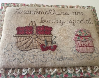 "Vintage ""Grandmothers are Berry Special"" Trinket/ Jewelry/ Sewing box - Valerie's Folk Art"