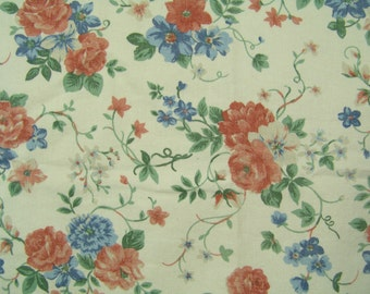 1.25 yds floral upholstery fabric vintage dusty rose blue  twill