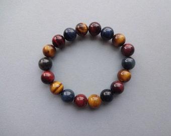 Multi color Tiger eye everyday stretch bracelet - Tiger eye jewelry