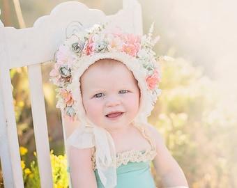 Floral bonnet and sitter romper photo prop