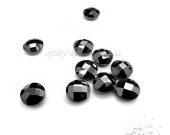 1pcs 6mm Double Checkerboard Brilliant Cut Cubic Zirconia, Black Color, Round Shape, Beautiful Cubic Zirconia