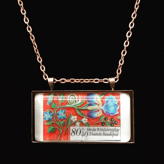 German Postage Stamp Necklace