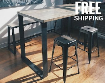 High Quality Industrial Bar Table | High Dining Table | Wood Kitchen Table Iron Base |  Free Shipping