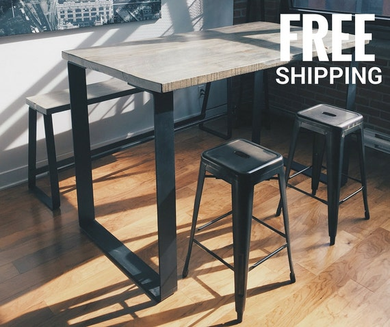 Industrial High Top Table: Industrial Bar Table High Dining Table Wood Kitchen Table