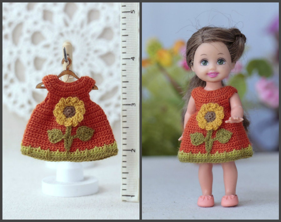 Crochet Mini Doll Clothes : Dollhouse clothing miniature crocheted orange by Creativhook
