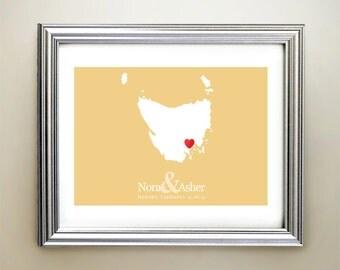 Tasmania Custom Horizontal Heart Map Art - Personalized names, wedding gift, engagement, anniversary date