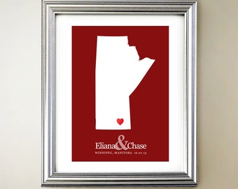 Manitoba Custom Vertical Heart Map Art - Personalized names, wedding gift, engagement, anniversary date