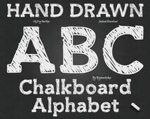 "Chalkboard Alphabet Clip Art: ""Chalk Alphabet"" digital hand drawn clipart with chalk letters, font, chalkboard letters, numbers, alpha"