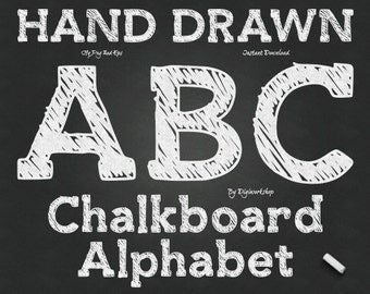 "Chalkboard Alphabet Clip Art: ""Chalk Alphabet"" digital hand drawn clipart with 72 chalk letters, font, chalkboard letters, numbers, alpha"