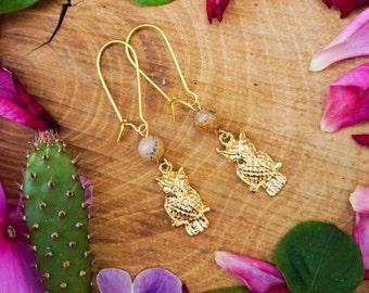 Golden Owl Earrings,Golden Earrings,Picture Jasper Earrings,Animal Earrings,Beach Jewelry,Owl Jewelry, Bird Jewelry