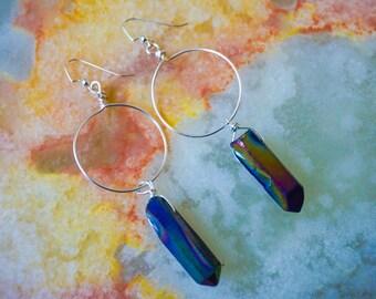 Hoops Earrings, Gemstone Earrings,Silver Earrings, Raw Gemstone Earrings,Wire Wrapped Earrings, Quartz Point Earrings