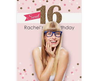 Sweet 16 - 16th Birthday Party Photo Booth Backdrop – Personalized Party Decorations