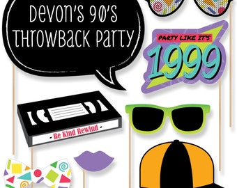 90's Throwback Photo Booth Props - 90's Throwback with Mustache, Hat, Bow Tie, Glasses & Custom Talk Bubble - 90's Prom Theme Decor - 20 pc