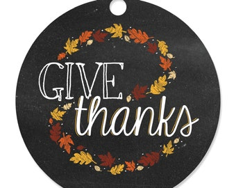 Give Thanks - Personalized Thanksgiving Party Tags - Party DIY Craft Supplies- 20 Count