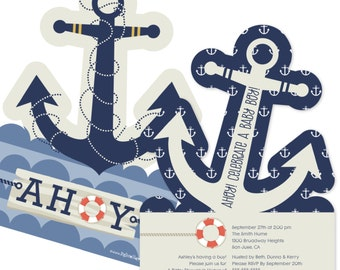Ahoy Nautical Custom Invitations - Printed Personalized Baby Shower Party Supplies - Set of 12
