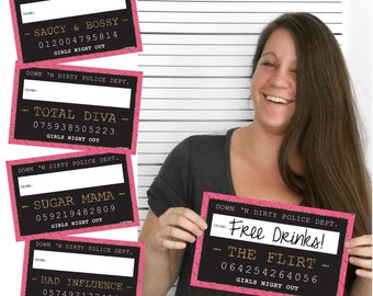 Girls Night Out Mug Shot Signs - Set of 10 Photo Booth Prop Party Kit