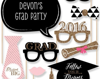 20 Graduation Photo Booth Props - 2016 Dream Big Photobooth Kit with Custom Talk Bubble for Graduation Parties