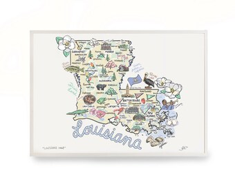 Louisiana Map, Louisiana Print, Unframed, Print Signed by Artist, Printed on watercolor paper