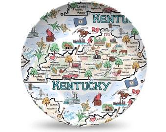 Kentucky Plate, Kentucky Plastic Plate, Kentucky State Map Plastic Plate - High End Plastic
