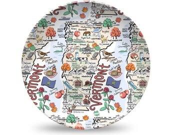 Vermont Plate, Vermont Plastic Plate, Vermont State Map Plastic Plate - High End Plastic