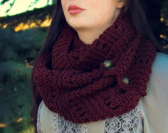Burgundy Knitted Scarf, Hand Made, Unique, Scarf with Buttons, Crochet, Accessories, Fall Clothes, Christmas Gift