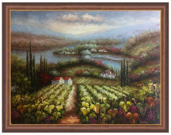 Original Hand Painted Italian Tuscan Oil Painting of Vineyard with Grape Vines 36X48 4 Frame Choices