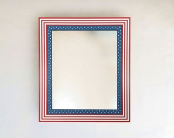 Patriotic American Flag Framed Mirror | Sizes: (8x10)(11x14)(16x20)(24x26)(24x36)(20x40) + More & Custom!