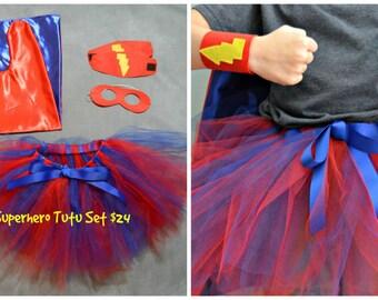 Superhero Tutu Costume. Superhero Tutu Set with Mask and Wrist Bands. Girl Superhero Costume.