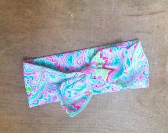 Knot Head band Knot Head Wrap Toddler Girls Infant Girls Paisley Print Pink Aqua Green