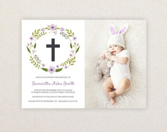 Girls Photo Christening/baptism Invitations. Wreath and Cross. I Customize, You Print.
