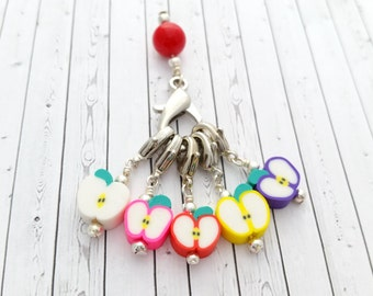 Apple Stitch Markers - Removable Stitch Markers - Lobster Clasp Progress Keepers - Stitch Minder Charms - Locking Stitchmarker - Apple Charm